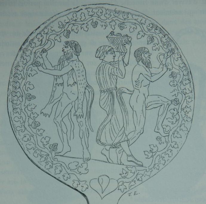 Scène de vendanges sur un miroir Etrusque